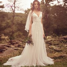 Liyuke 2019 Married A-line Wedding Dress Lace Appliques Vintage V-neck  Customized Flare Sleeves
