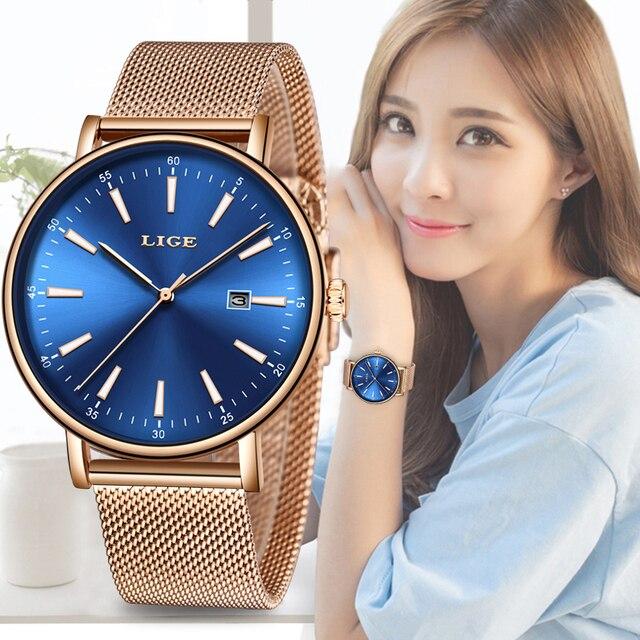 ליגע שעון יד נשים אופנה נירוסטה קוורץ שעון שמלת נשים שעונים צמיד עמיד למים שעון Relogio Feminino 2019