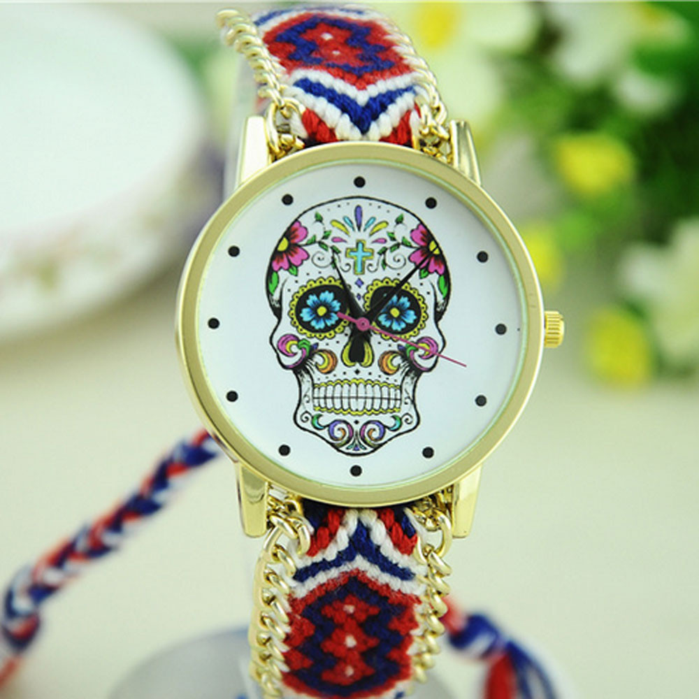 New Fashion Women Skull Pattern Weaved Rope Fabric Band Bracelet Quartz Dial Watch Relojes Mujer 2018 Female Clock Gift#77