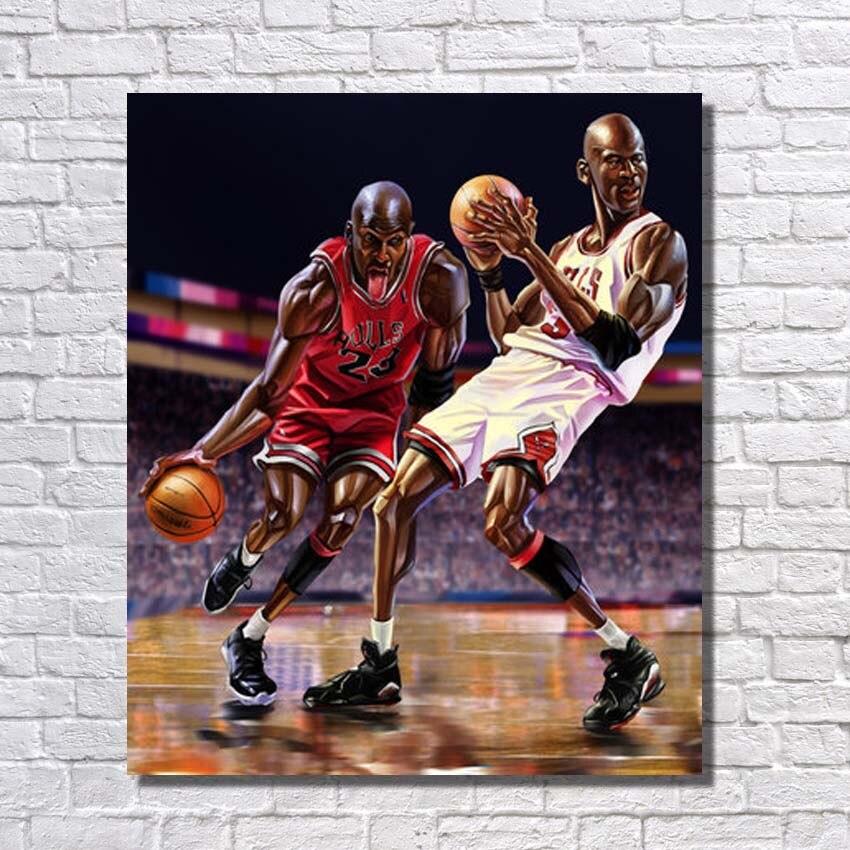 Nuevo diseño pintado a mano famosa Baloncesto reproductor pintura al ...