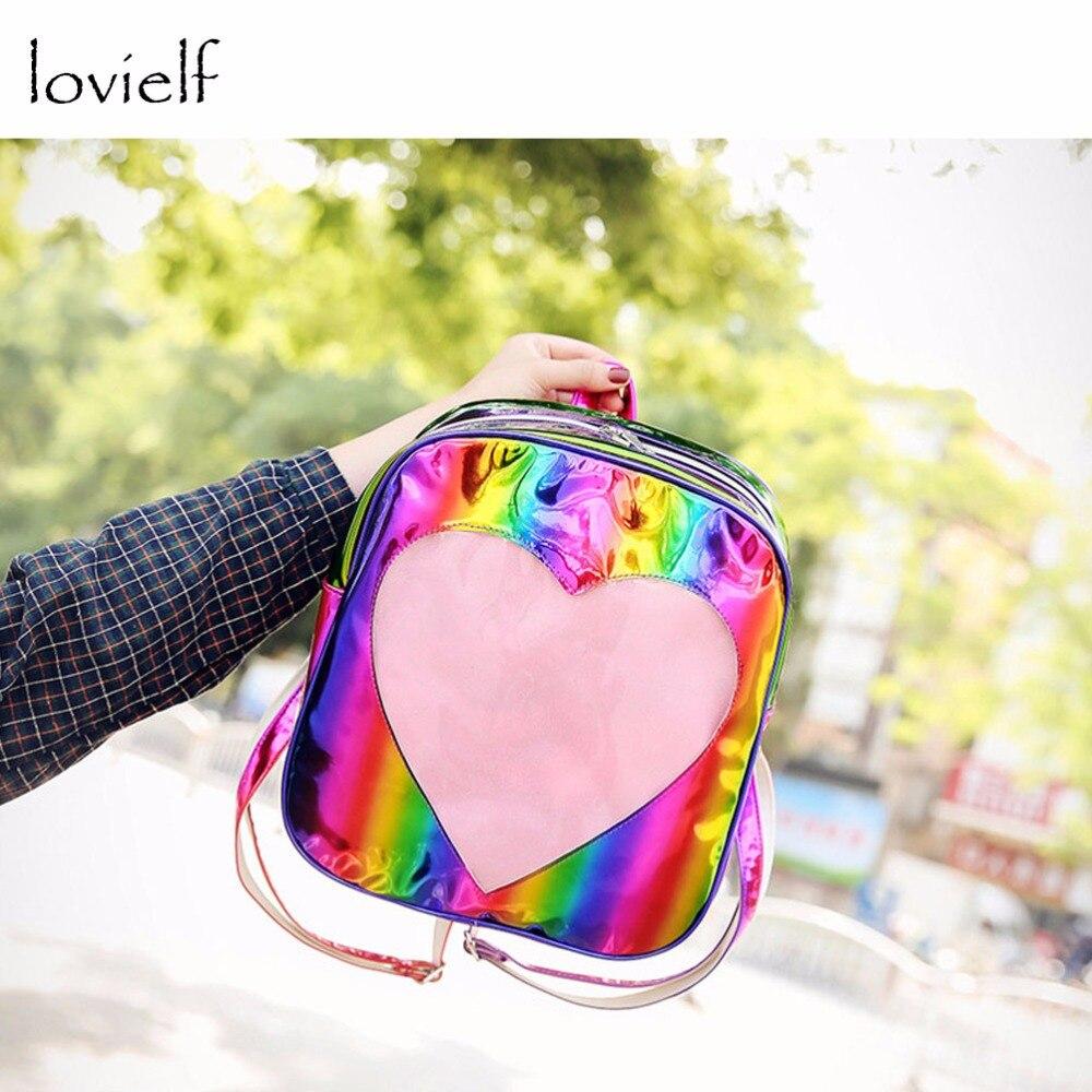 lovielf NEW Women Girls Ins Cute Love Heart Rainbow laser Bling Transparent Travel Backpack cute beads heart love bracelet for women