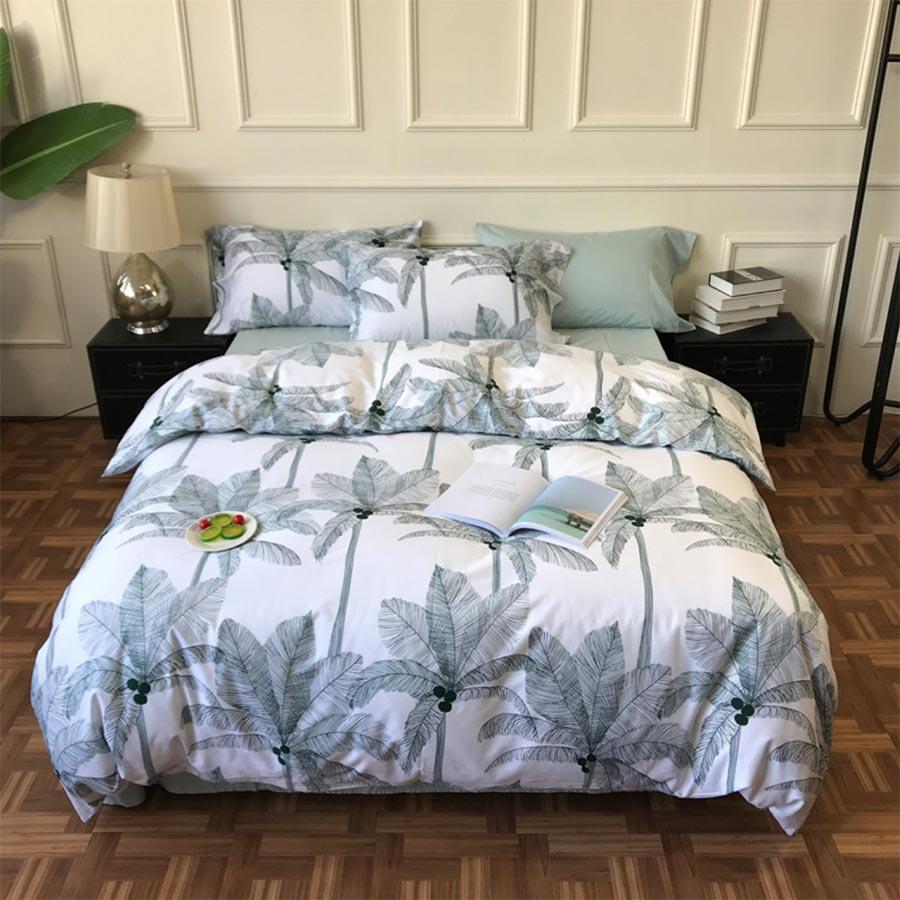 Ensemble de literie moderne arbre végétal, double reine roi coton mode vert double maison textile drap de lit taie d'oreiller housse de couette