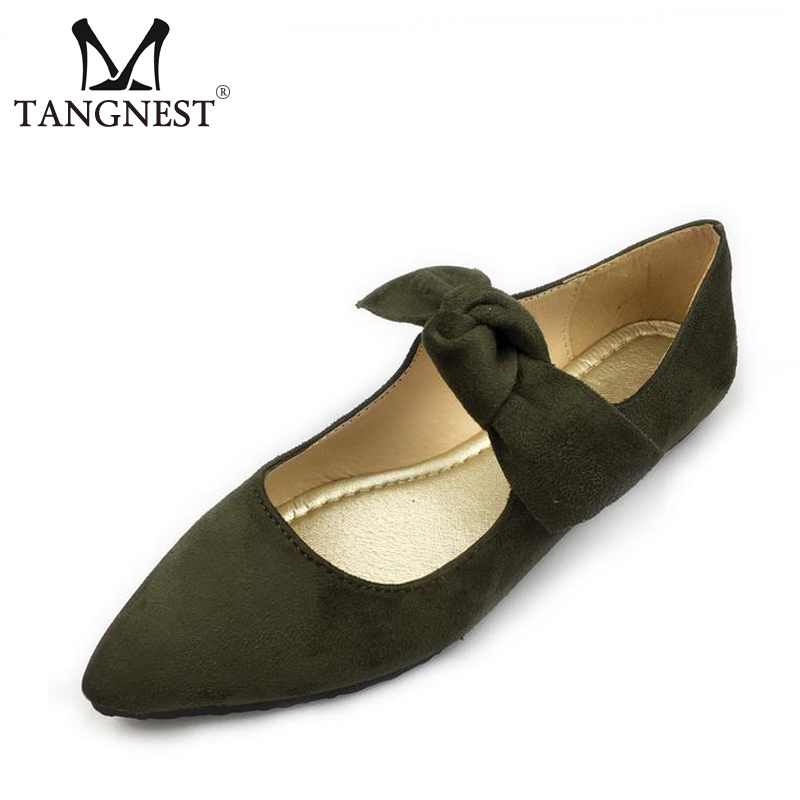 Tangnest 2017 Butterfly-knot Woman Flock Flats Solid Lace-Up Pointed Toe Woman Ballet Flats Spring Soft Women Shoes XWD5562 spring autumn solid metal decoration flats shoes fashion women flock pointed toe buckle strap ballet flats size 35 40 k257