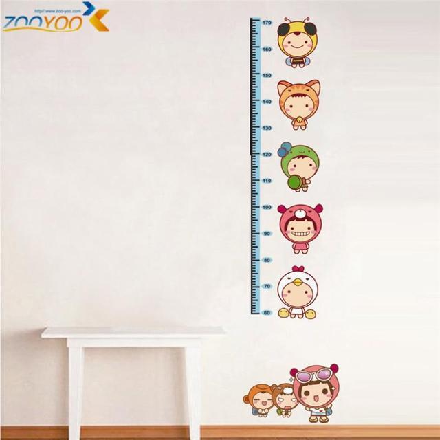 Growth Chart Decals Height Measurement Wall Sticker Kids Cartoon
