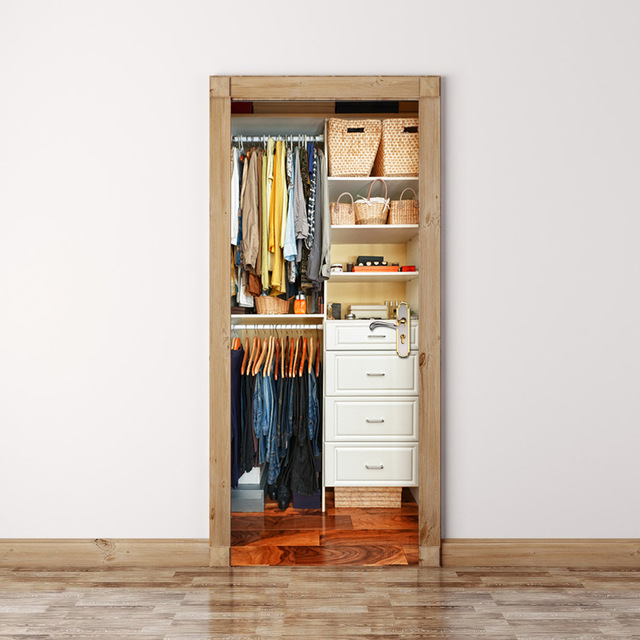 2 Teile/satz Kleiderschrank Diy Wandaufkleber Schlafzimmer Dekoration  Poster Wasserdichten Nachahmung 3d Tür Aufkleber Aufkleber