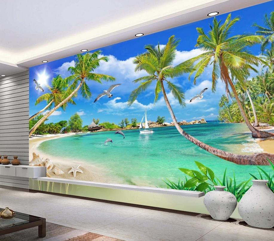 Modern mediterranean palm wallpaper murals photo wall murals 3d wallpaper living room tv backdrop walpaper custom wall papers home decor flamingo sea 3d wallpaper murals tv background kitchen study bedroom living room 3d wall murals