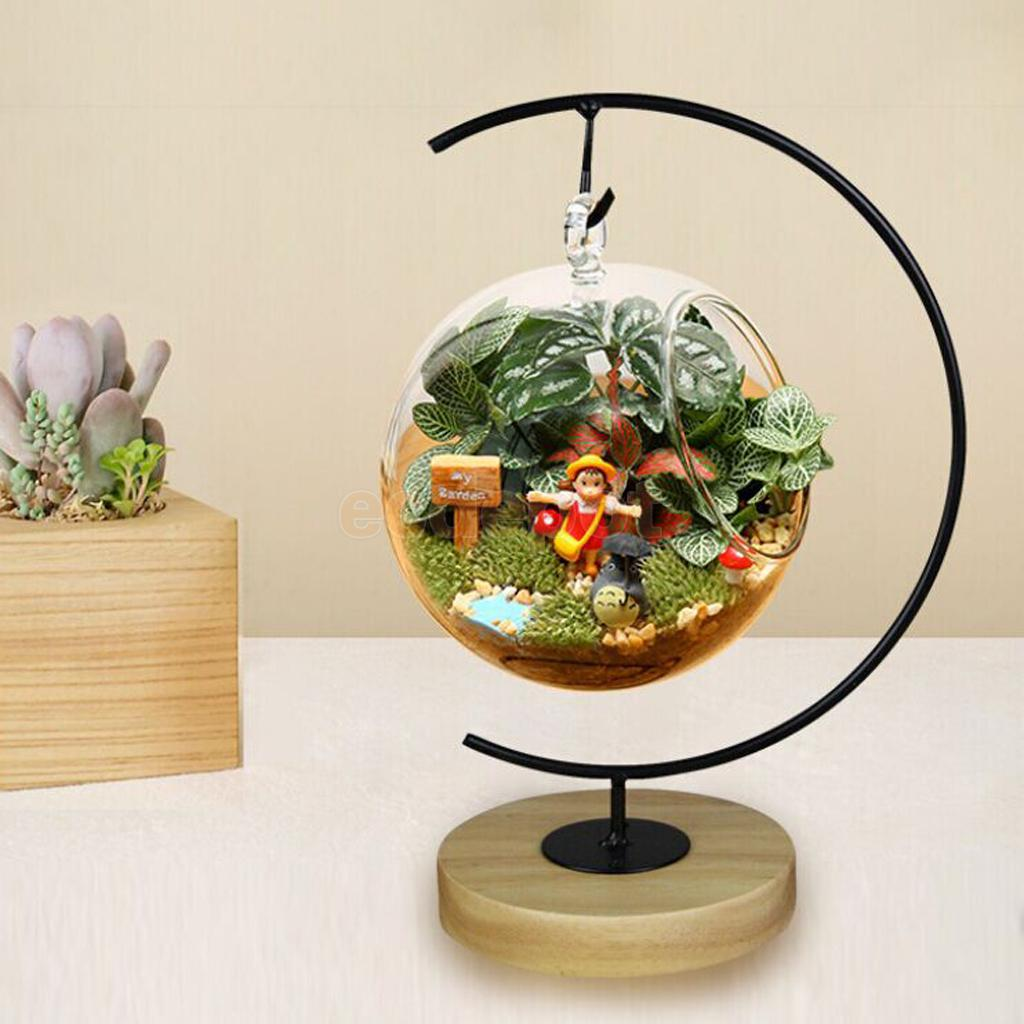 Hanging Vase Plant Stand Holder Wooden Base for ... on Plant Stand Hanging  id=67598