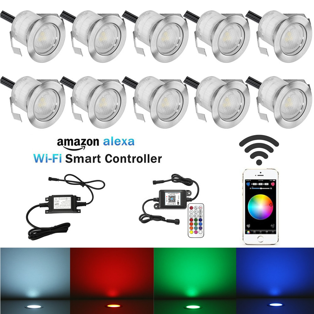 10Pcs Set 30mm RGB Changeable Color 12V LED Deck Stair Step Terrace Lights Wifi Controller Dimmer