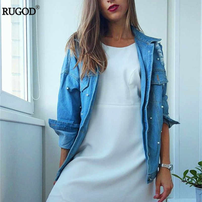 0399d2862f0 ... RUGOD 2018 Spring Pearls Beading Ripped Denim Jacket Women Vintage  Single Breasted Long Sleeve Jean Jackets ...