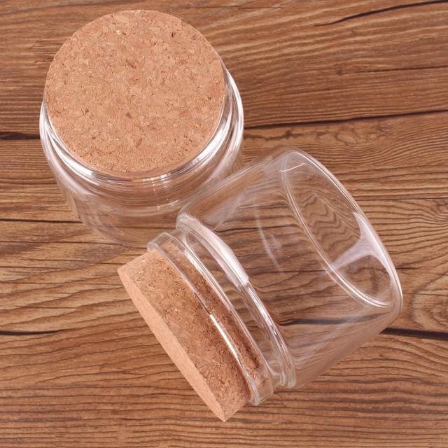 Bouteilles en verre Transparent 78*60*62mm 150ml   Bouchon de liège, bouteilles de stockage de noix dépices vide, bocaux cadeaux artisanat flacons 12 pièces