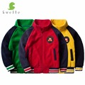 Svelte Brand for 2017 Spring Fall Children Kids Boys Fleece Contrast Colors with Badge Softshell Cardigan Bomber Jackets Parkas