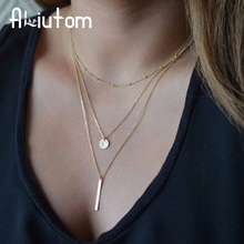 ALIUTOM 2017 Women's Fashion Jewelry Colar 1pc European Simple Gold Silver Plated Multi Layers Bar Coin Necklace Clavicle Chains