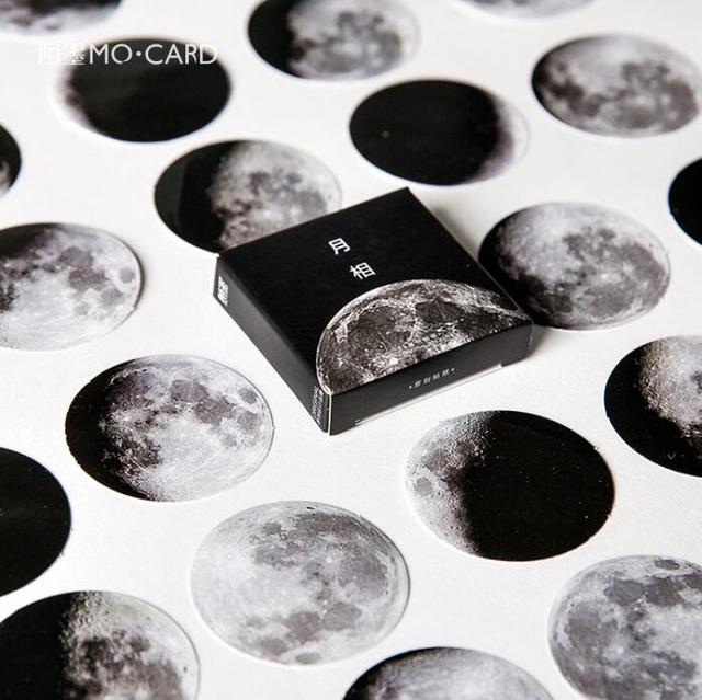 45 pcs/pack Dark Moon Star Decorative Stickers Adhesive Stickers DIY Decoration Diary Stickers Box Package