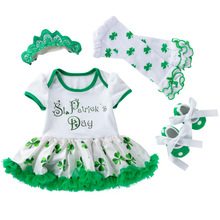 4pcs Baby Girl Clothes Newborn St. Patricks Day Infantil Dress Outfits Set Shamrocks Tutu Skirt With Shoes