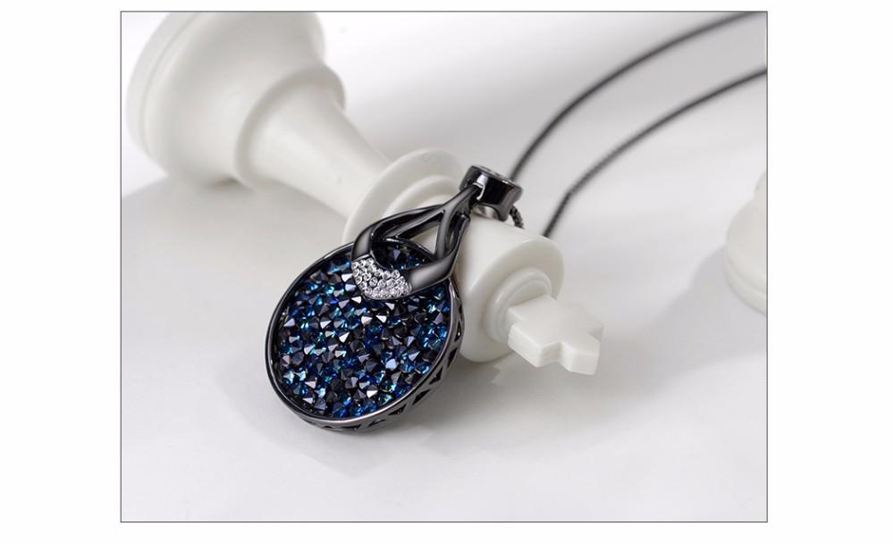 Вьеннский розовое золото / пистолет покрыло круглый кулон ожерелья для женщин голубых кристаллов от swarovski аксессуары роскошные ожерелье