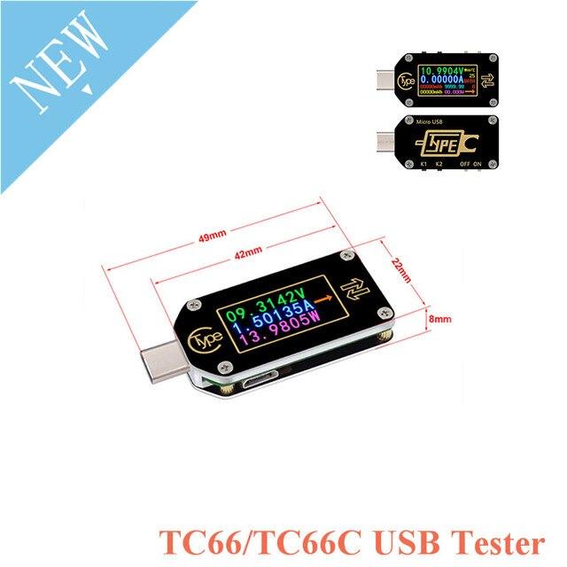 TC66 TC66C نوع C اللون LCD شاشة USB الفولتميتر مقياس التيار الكهربائي الجهد الحالي متر المتر بطارية PD سريع تهمة الطاقة USB Teste