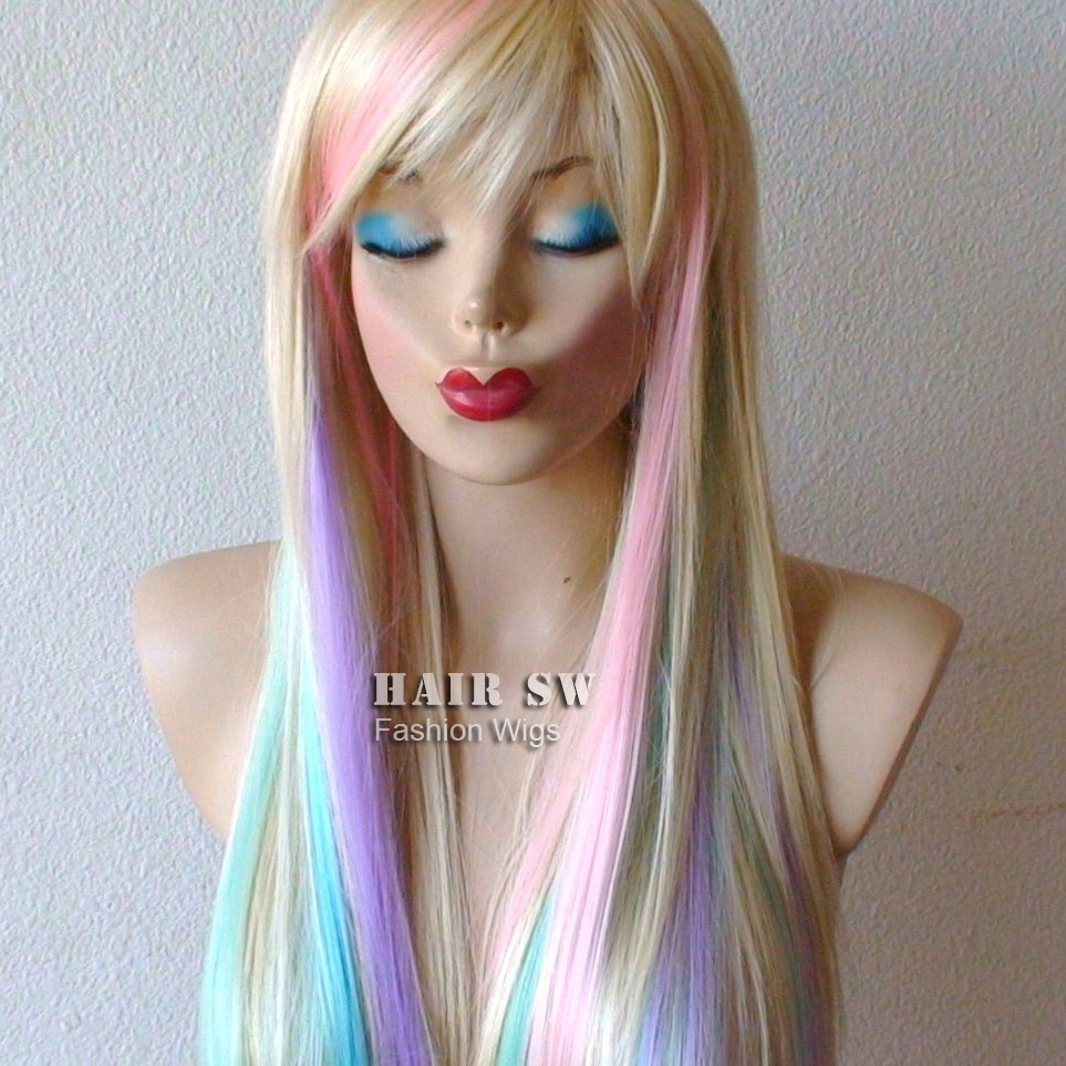 Blondepastel Color Highlights Rainbow Wig Fairy Princess Wiglong