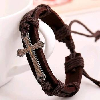 FAMSHIN New Hot Handmade Braid Genuine Leather bracelet Wrap Charm Cross Bracelets 3
