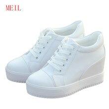 Summer Black White Hidden Wedge Heels Sneakers Casual Shoes Woman High Platform Women Ladies