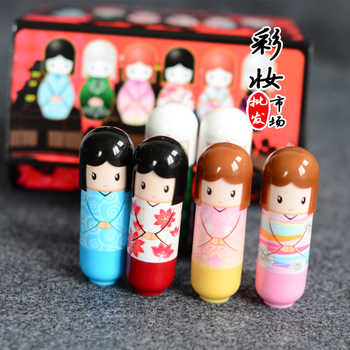 144pcs/lot Kawaii Baby Lips Balm Kimono Doll Lip Balm Natural Plant Cute Lipbalm Nutritious Makeup Lips Care Moisturizing w/Box
