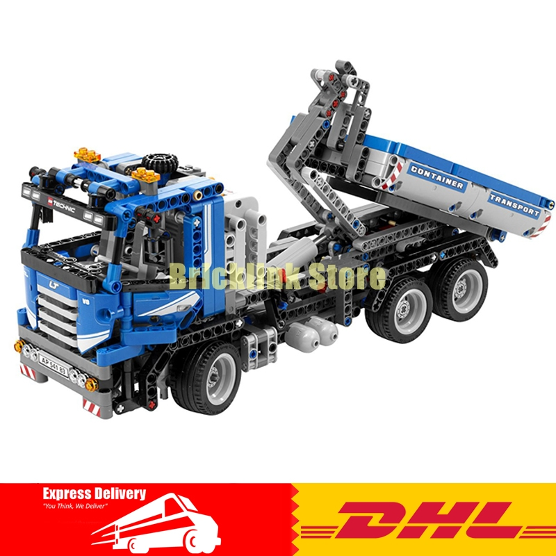 IN STOCK LEPIN 20027 720Pcs Technic Mechnical Series The Container Truck Set Educational Building Blocks Bricks Toys Model 8052 lepin 22002 1518pcs the maersk cargo container ship set educational building blocks bricks model toys compatible legoed 10241