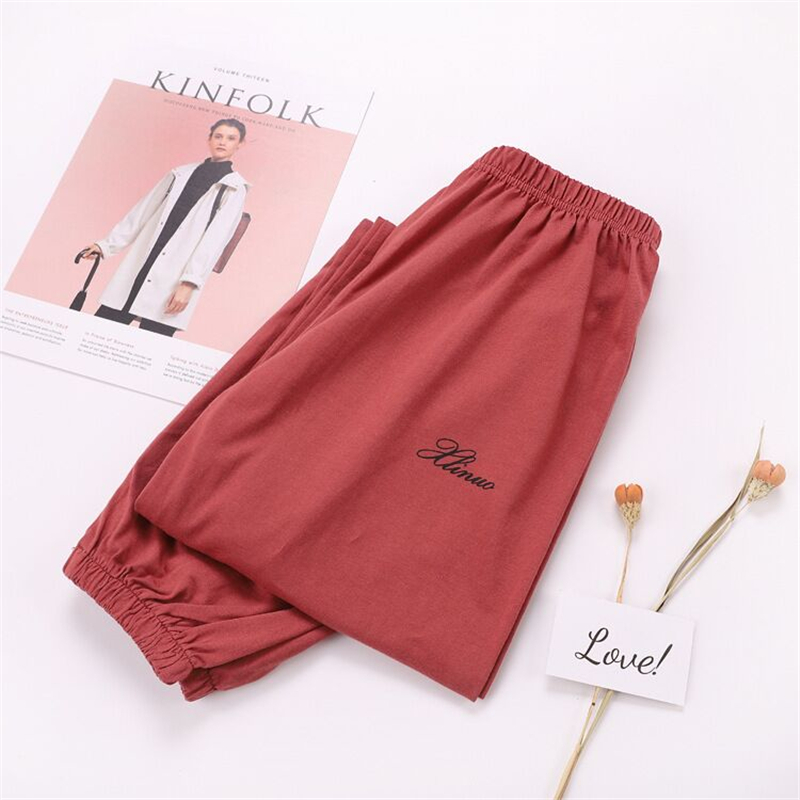 Summer 100% Knitted Cotton Home Pants Women Sleep Bottoms Cute Pink Elastic Casual Pajama Pants Womens Pijama Mujer Trousers