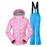GSOU SNOW Double Single Board Children's Ski Suit Windproof Waterproof Thickening Warm Ski Coat Ski Suspender Trousers for girl