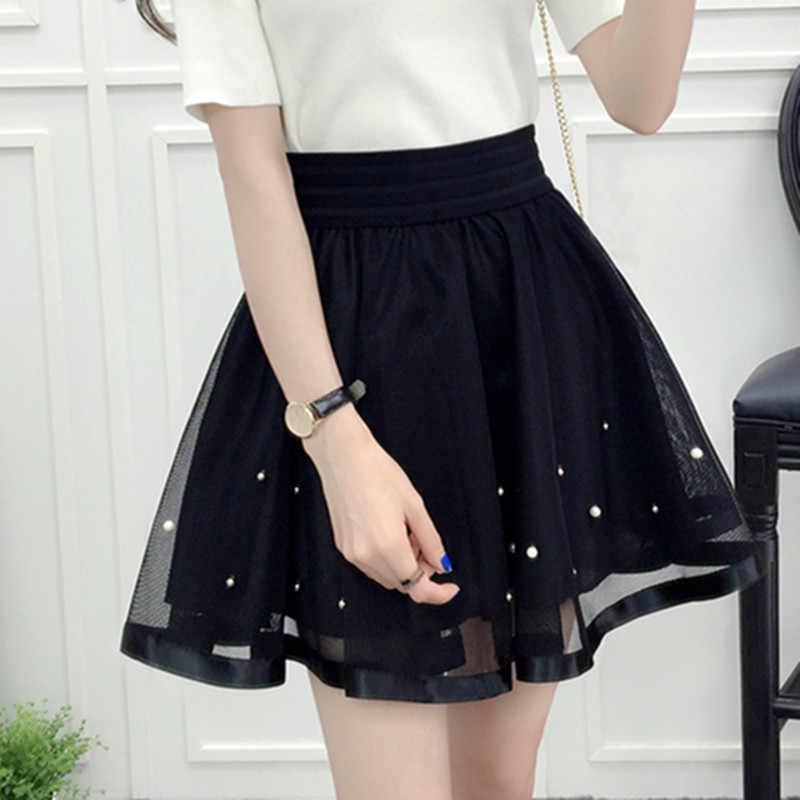 efbdf1be987dc 2019 New Spring Summer Women Black Mini Skirt Korean Elastic High Waist  Skirt Shorts Sweet Mesh Tulle Umbrella Skirt Falda Tul