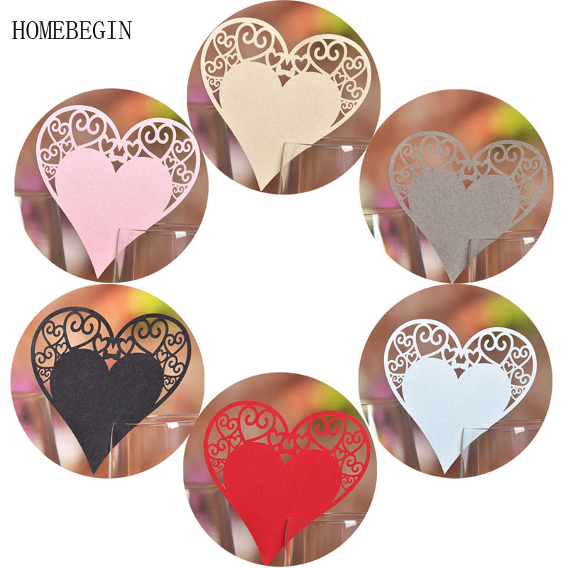 HOMEBEGIN 50pcs Heart Shape Glass Paper Card Name Place Cards Laser Cut Wedding Decorations Birthday Event Party Favors Supplies