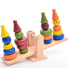 Free shipping Montessori teaching AIDS children wooden rainbow tower balance toys, children clown balance blocks geek king montessori teaching aids balance scale baby balance game early education wooden puzzle children toys