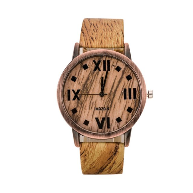 GENBOLI 1PC Retro Women's Bracelet Watches New Wood Grain Leather Strap Ladies D