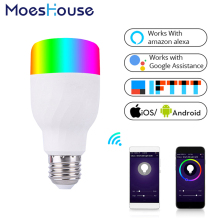 Умный светильник с Wi-Fi, умный цветной светодиодный светильник, 7 Вт, RGBW приложение, дистанционное управление, работает с Alexa Google для умного дома E27 E26