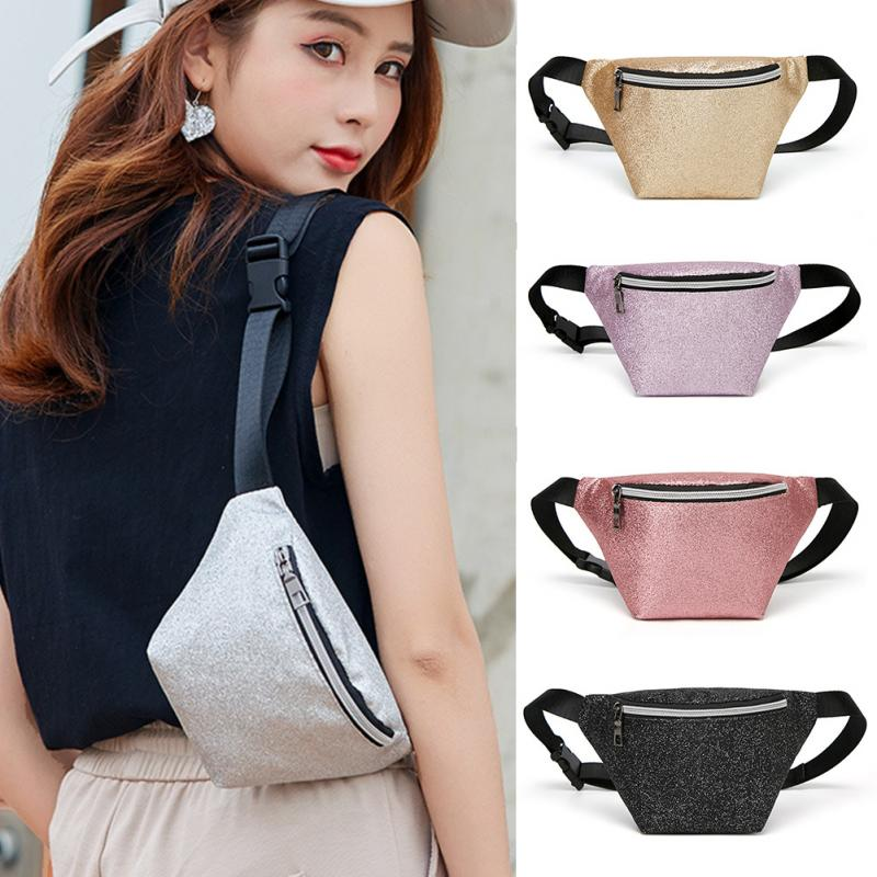 Women PU Leather Waist Bag Glitter Punk Fashion Solid  Fanny Pack Adjustable Strap Coin Purse Riding Outdoor Portable Chest Bag