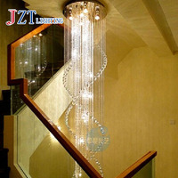 GETOP Modern Deluxe Villa Staircase Hotel Lobby Double Staircase K9 Crystal Chandelier LED Lustres Crystal Lamp Lighting