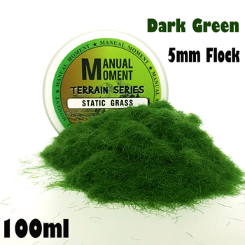 Miniature Scene Model Materia Dark Green Turf Flock Lawn Nylon Grass Powder STATIC GRASS 5MM Modeling Hobby Craft Accessory 5mm Flock Static Grass Fiber HOBBY ACCESORIES Type: Model