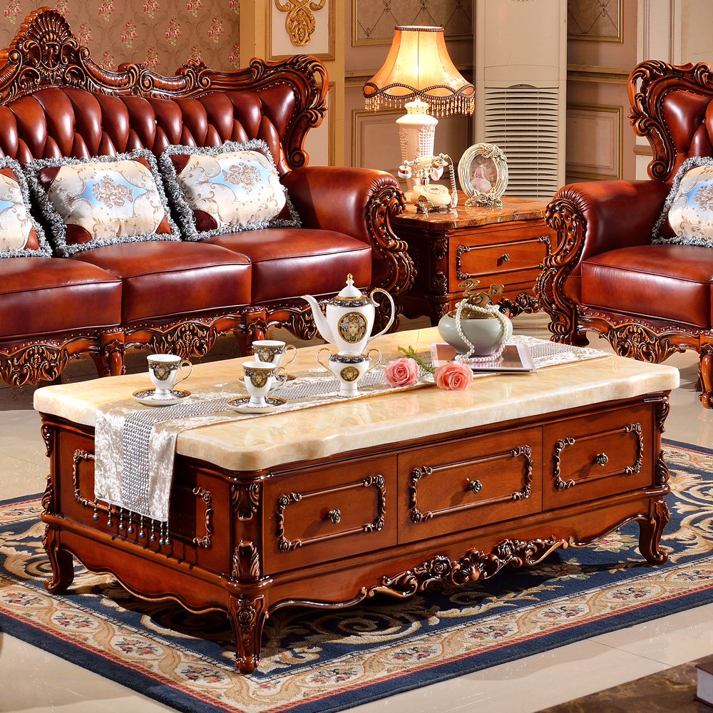 Dark Wood Furniture Us 2025 European Solid Wood Coffee Table Marble Carved Antique American Dark Living Room Furniture Matching Cabinet Teasideend In Coffee Tables