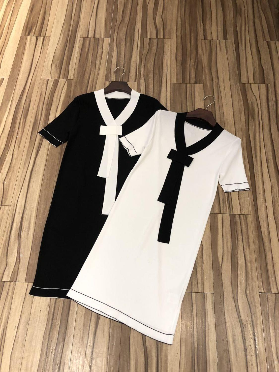 2019 new ladies fashion short sleeved bow tie color dress 0603