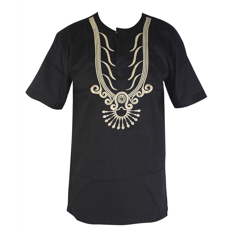 Africa Clothes Men`s Dashiki Embroidery Tops Wedding Wear African Short Tunic