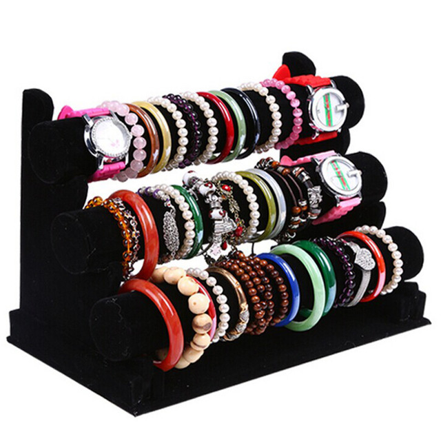 New and Fashion 3 Tier Black Velvet Bracelet Chain Watch T Bar Rack