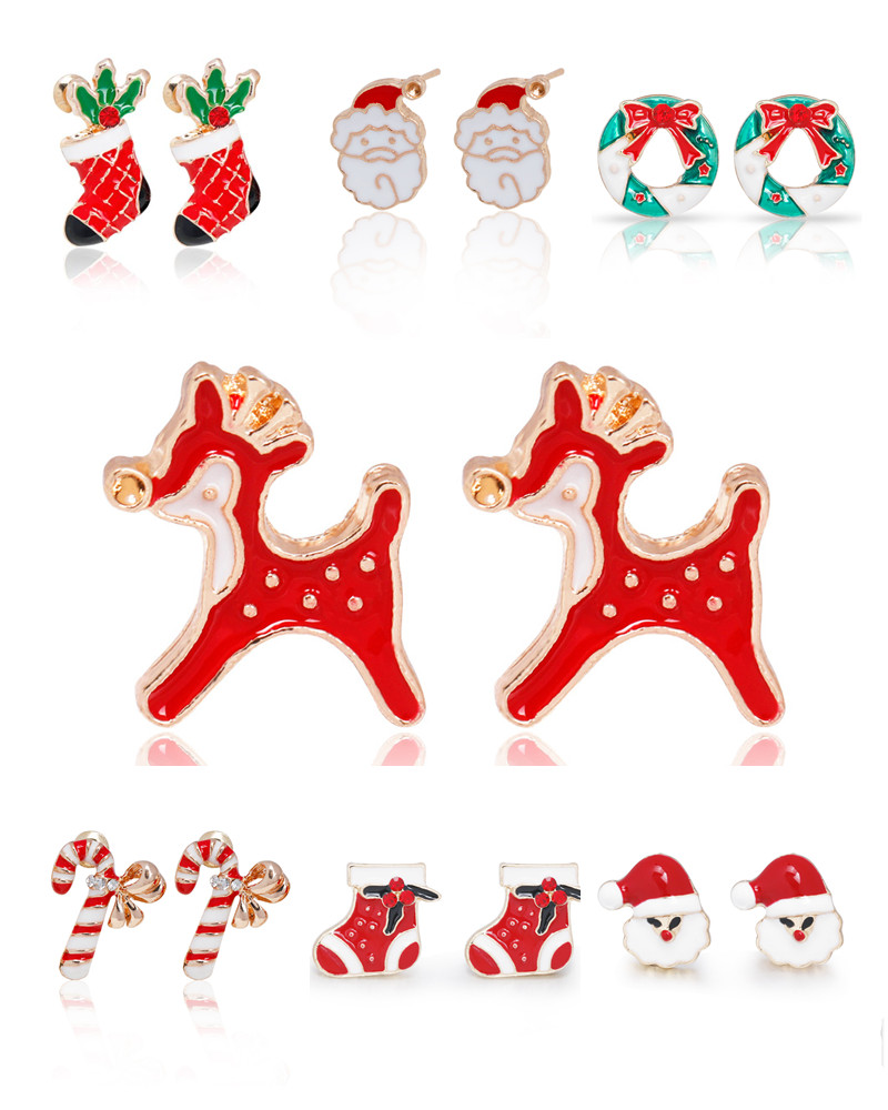 New Trendy Santa Claus Deer Lovely Wreath Socks Christmas Jewelry Christmas Earrings For Women Girls Gift boucle doreille femme