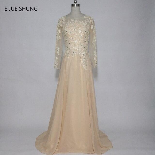 9a9ee18f50cc0 E JUE SHUNG Şampanya Dantel Aplikler Uzun Abiye Uzun kollu Resmi Elbiseler  anne Gelin Elbiseler elbise