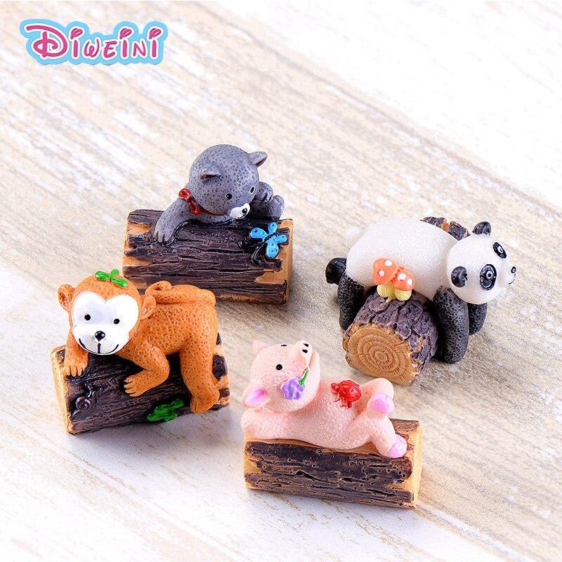 Tree Stump Animal Figures Cartoon Pig Cat Panda model Miniature Figurine Girl Boy baby Pet toy home decoration DIY accessories