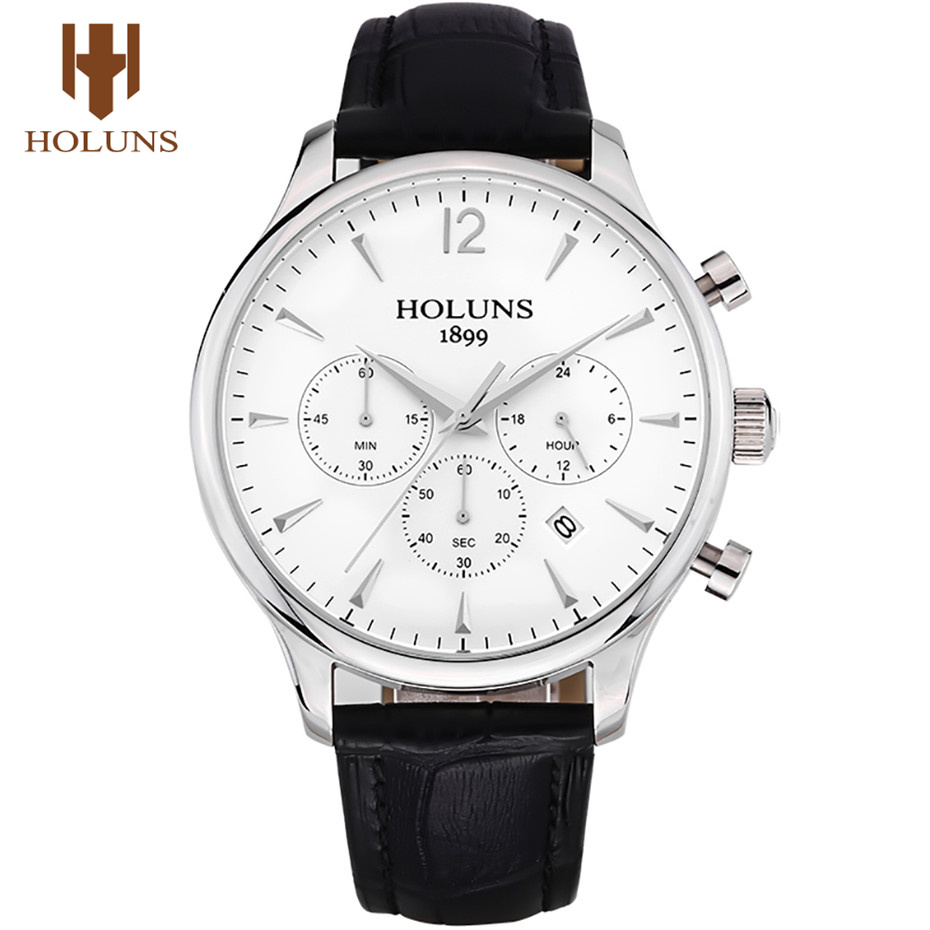 HOLUNS Chronograph Men's Wrist Watch Date Display Genuine Leather Band Business Watches 5ATM Waterproof Male Clock Jewelry Gift forsining date display automatic mechanical watch men business leather band watches modern gift dress classic analog clock box