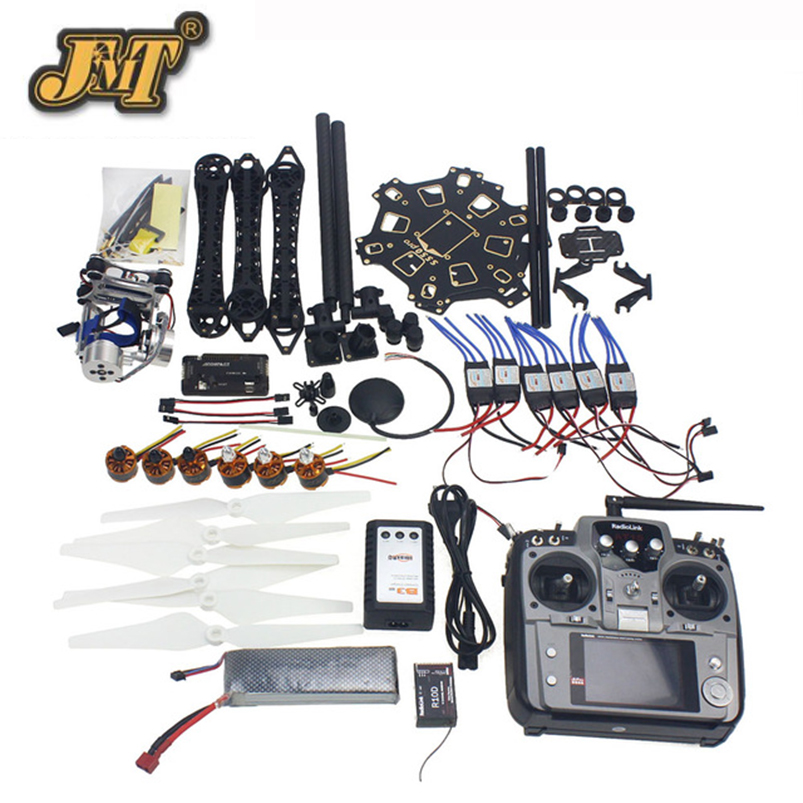 JMT Full Set RC Drone 6-axis Aircraft Kit HMF S550 Frame 6M GPS APM 2.8 Flight Control AT10 Transmitter Gimbal Camera Mount jmt diy rc drone full set 6 axis aircraft kit with hmf s550 frame 6m gps apm 2 8 flight control at10 remote control