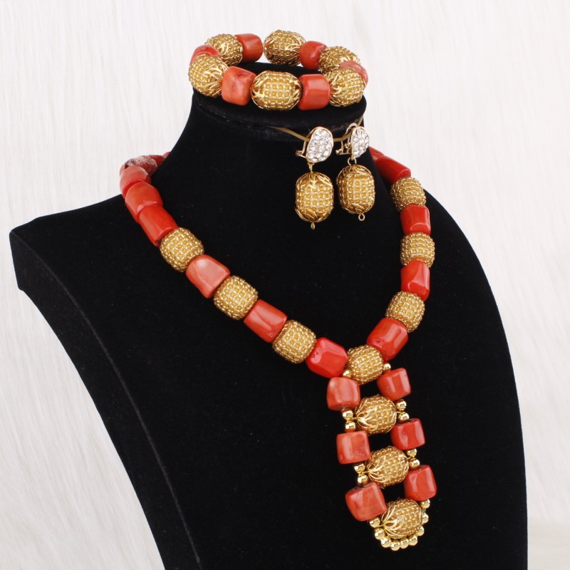 Dudo bijoux collier africain perles de corail ensembles de bijoux pour les femmes avec des fleurs 3 pièces Dubai ensembles de bijoux 2019 Designers bijoux - 5