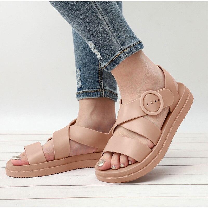 HTB11PZqX8WD3KVjSZFsq6AqkpXaa MCCKLE Flat Sandals Women Shoes Gladiator Open Toe Buckle Soft Jelly Sandals Female Casual Women's Flat Platform Beach Shoes