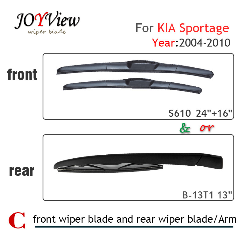 S610 24+16 Front Wiper Blade and Rear Wiper Arm Blade for KIA Sportage(2004-2010), 13 rear wiper blade for KIA Sportage