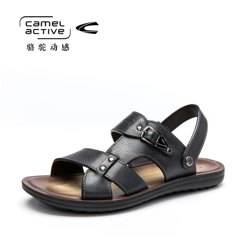 Camel Active Summer Genuine Leather Sandals for Men Outdoor Breathable Beach Shoes Antiskid Walking Slippers 157264102