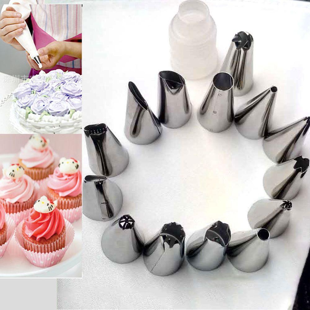 16Pcs Icing Piping Nozzles Pastry Tips Cake Sugarcraft Decorating Bakery Tools