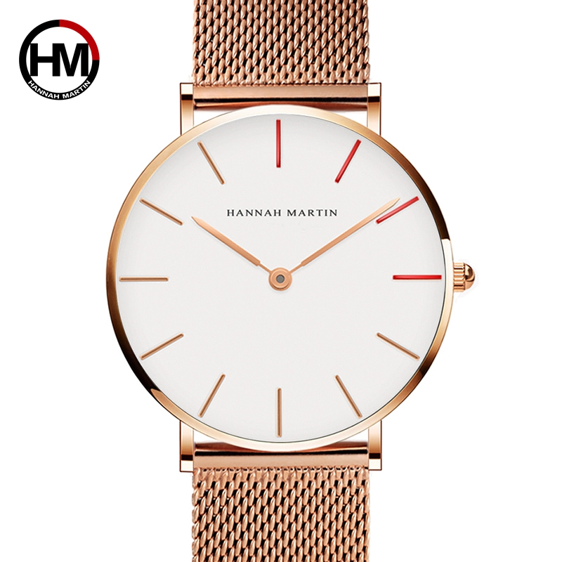 Ladies Watch Dropshipping Japan Quartz Movement High Quality 36mm hannah Martin Women Stainless Steel Mesh Rose Gold Waterproof dropshipping fashion stainless steel rose gold